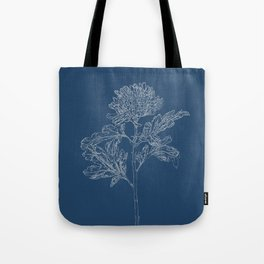 Chrysanthemum Blueprint Tote Bag