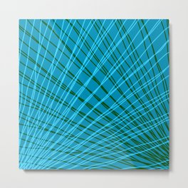 Rays of light blue light with mirrored green waves on mesh. Metal Print