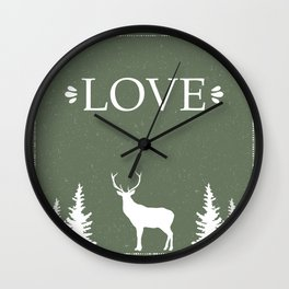 Winter Silence, LOVE, with pine trees and a deer Wall Clock