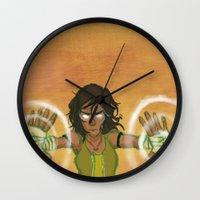 korra Wall Clocks featuring Avatar Korra by Paula Urruti