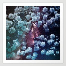 Love Finger Snap Space Floral Art Print