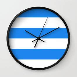 Wide Horizontal Stripes - White and Dodger Blue Wall Clock