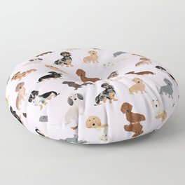 Dachshund dog breed pet pattern doxie coats dapple merle red black and tan Floor Pillow