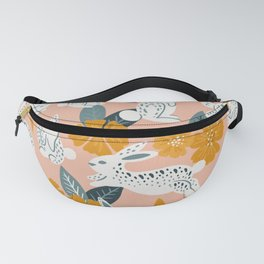 Bunnies & Blooms – Teal & Blush Fanny Pack