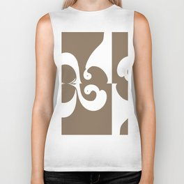 Brown and White Abstract Biker Tank