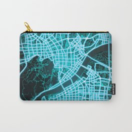 Hangzhou, China, Blue, White, Neon, Glow, City, Map Carry-All Pouch