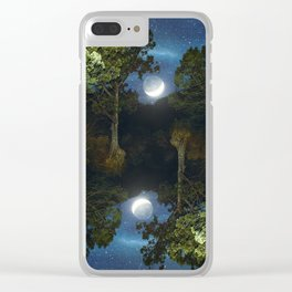 Moonset in coniferous forest Clear iPhone Case