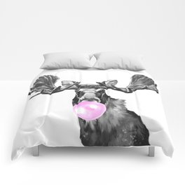 Bubble Gum Moose in Black and White Comforters