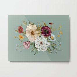 Colorful Wildflower Bouquet on Blue Metal Print