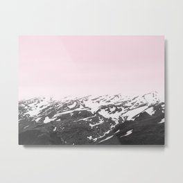 Pink Mountain Fog - Landscape, Nature Photography Metal Print