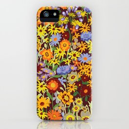 Summer Meadow Flowers on Dark Red Background iPhone Case