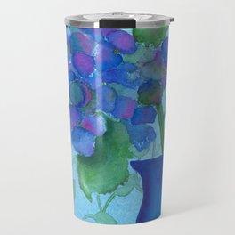 Cobalt Hydrangea Travel Mug