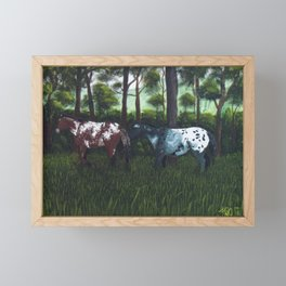 Horses in a feild Framed Mini Art Print