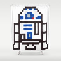 r2d2 Shower Curtains featuring r2d2 by Walter Melon