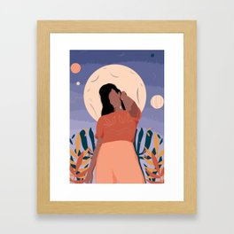 Moon Vibing Framed Art Print