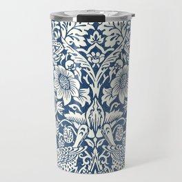 William Morris Navy Blue Botanical Pattern 4 Travel Mug