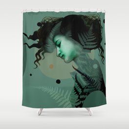 The Girl and the Moon (2) Shower Curtain