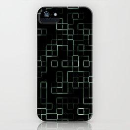 Green neon mosaic technology pattern iPhone Case