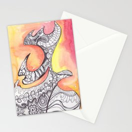 Childhood Series: Abstract Watercolor Shape Pattrn Stationery Cards