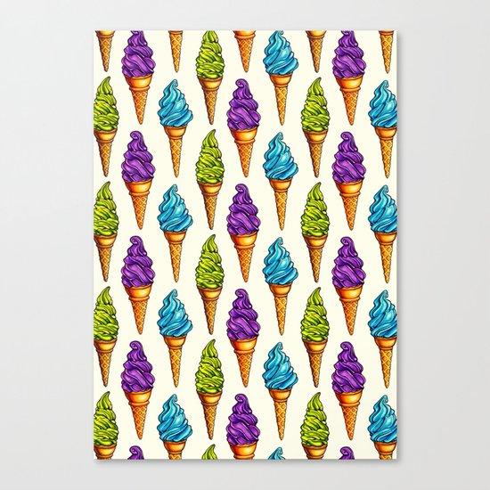 Ice Cream Blue Purple Green Canvas Print
