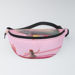 Whale and balloons - Pink Fanny Pack