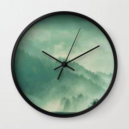 Turquoise Green Monochromatic Mist Misty Pine Forest Field Landscape Wall Clock