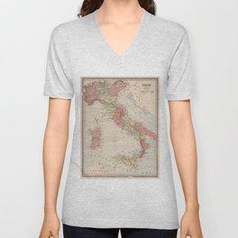 Vintage Map of Italy (1883) Unisex V-Neck