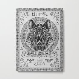 Legend of Zelda Twilight Wolf Link Line Art Metal Print