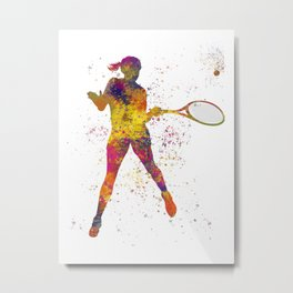 Woman plays tennis in watercolor 10 Metal Print