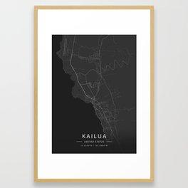 Kailua, United States - Dark Map Framed Art Print