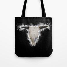 Bull Skull Black Background Tote Bag