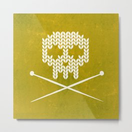 Knitted Skull (White on Yellow) Metal Print