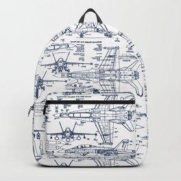 F-18 Blueprints // Blue Ink Backpack