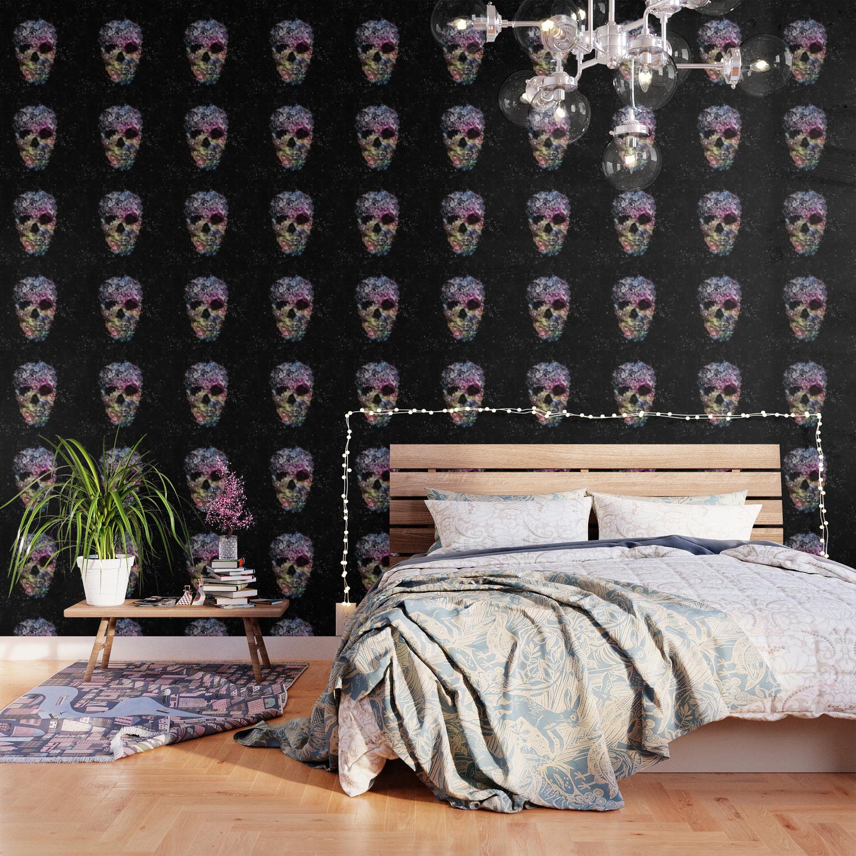 Floral Skull Wallpaper By Mantisartgallery Society6