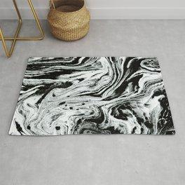 marble black and white minimal suminagashi japanese spilled ink abstract art Rug