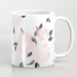 Vintage Blush Floral BW -medium Coffee Mug