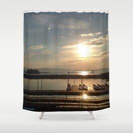 Lake Champlain Ferry to Burlington Vermont at Sunset Shower Curtain