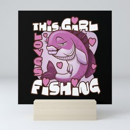 This girl loves fishing with female fish and heart Mini Art Print