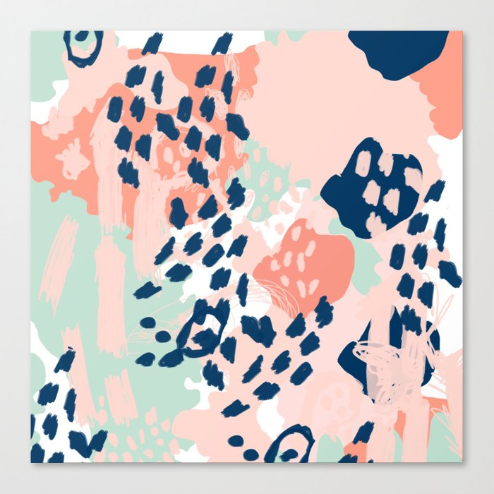 Kala Abstract Painting Minimal Coral Mint Navy Color Palette Boho Hipster Decor Nursery Canvas Print By Charlottewinter