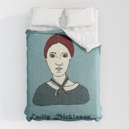 Emily Dickinson, hand-drawn portrait Comforters