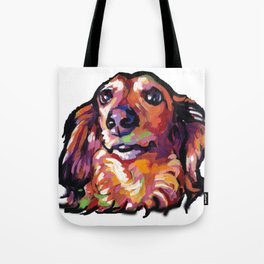 Dachshund Fun Dog Portait bright colorful Pop Art Painting by LEA Tote Bag