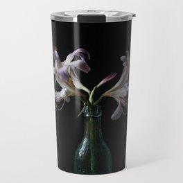 Resurrection Lily in a Vintage Bottle Travel Mug
