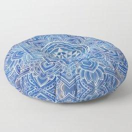 Sri Yantra  / Sri Chakra Blue Watercolor Floor Pillow