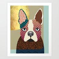 boston terrier Art Prints featuring Boston Terrier  by Lanre Studio