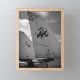 Navy Tomcat Jet Tailwings Black And White Print Framed Mini Art Print