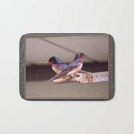 Barn Swallows With Nest Materials Bath Mat