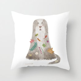 Dog and forest Throw Pillow