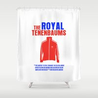 royal tenenbaums Shower Curtains featuring The Royal Tenenbaums Movie Poster by FunnyFaceArt