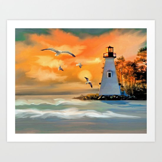 Sunset Lighthouse Art Print