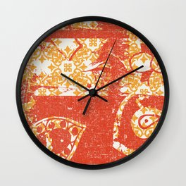 Crayon Bright Grunge Orange Abstract Wall Clock
